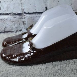 NORDSTROM brown patent croc mary jane wedges